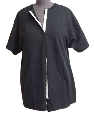Black front opening shirt