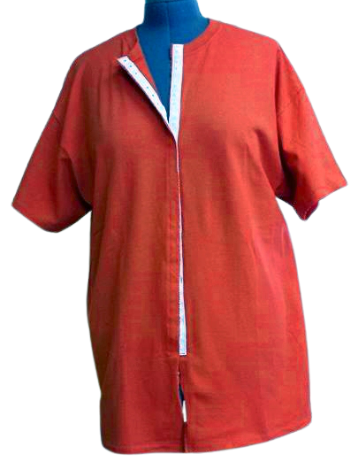 Red front opening shirt